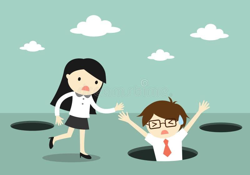Concept d'affaires, chute d'homme d'affaires dans le trou mais femme d'affaires essayant de l'aider illustration de vecteur