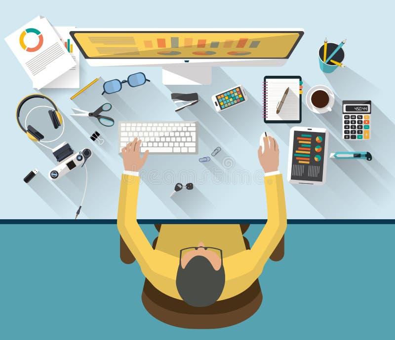 Concept d'affaires - concept de travail - conception plate image libre de droits