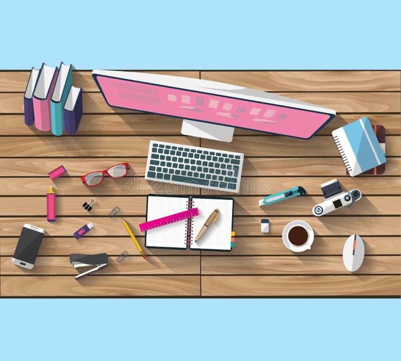Concept d'affaires - concept de travail - conception plate - lieu de travail image libre de droits