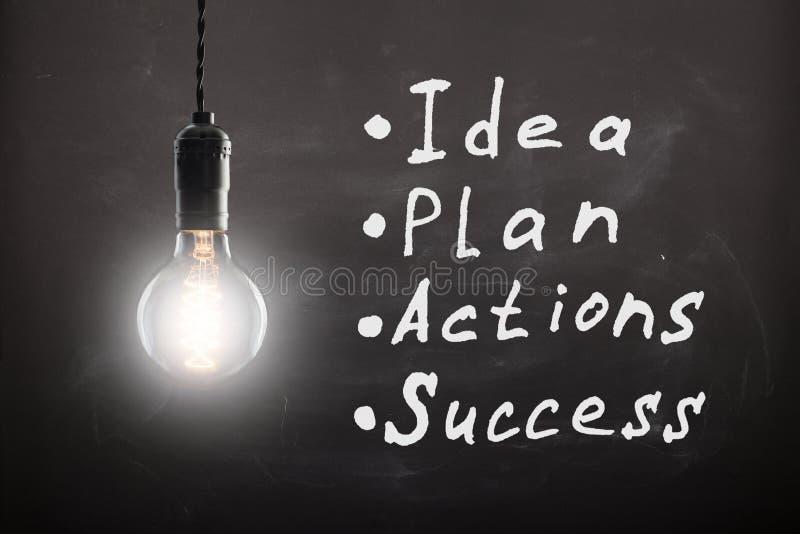Concept d'affaires - croquis avec des plans et des graphiques sur le tableau illustration stock