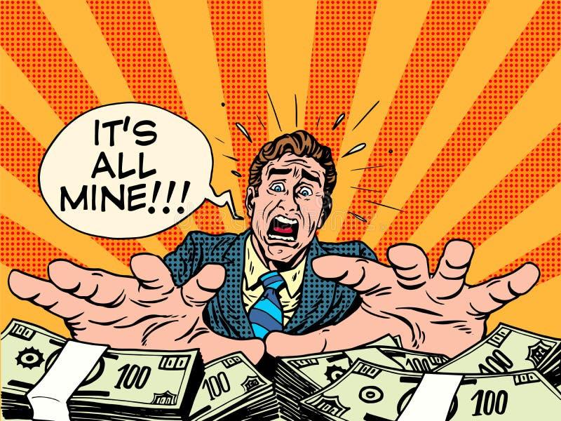 Concept d'affaires d'argent de richesse d'avidité illustration libre de droits