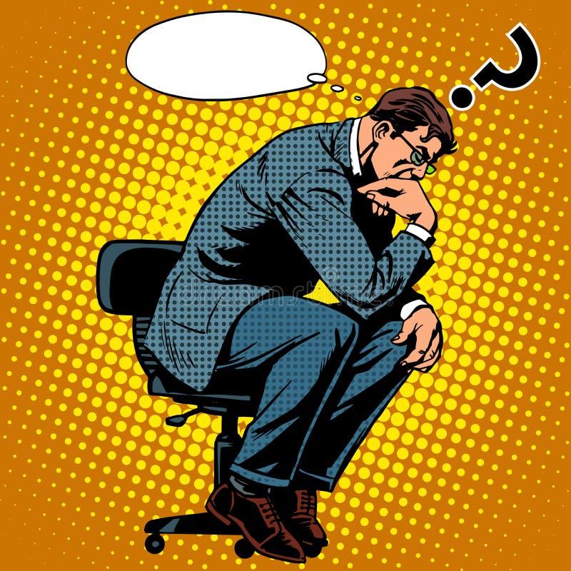 Concept d'affaires d'homme d'affaires de penseur illustration stock