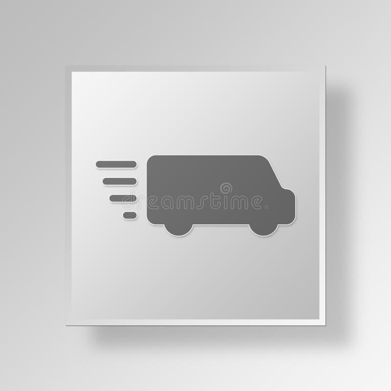 concept d'affaires d'icône de fourgon de livraison 3D illustration libre de droits
