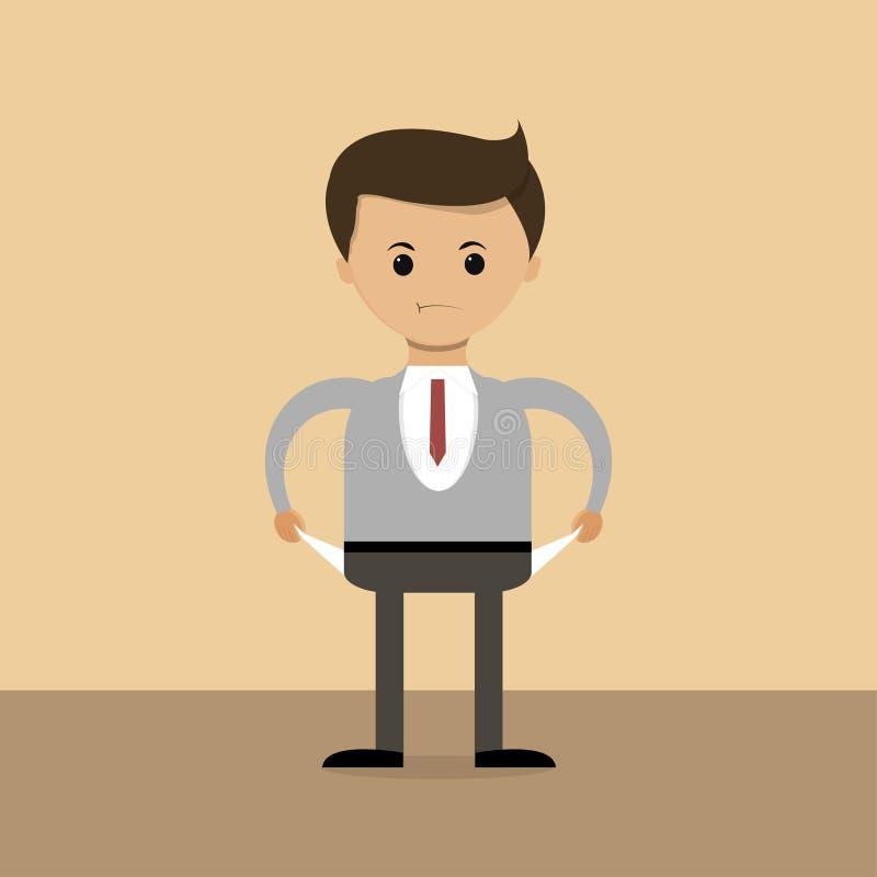 Concept d'affaires dans la conception plate L'homme d'affaires de Neudachnyj du monde, poches vident, faillite Vecteur illustration de vecteur