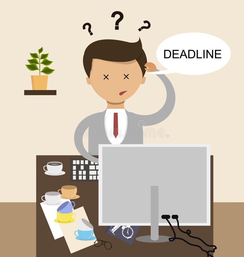 Concept d'affaires dans la conception plate La date-butoir et le travail n'est pas prêt Vecteur illustration libre de droits