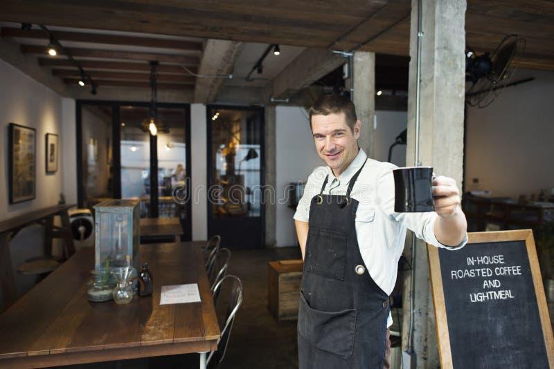 Concept d'affaires de boissons de tablier de Coffee Steam Cafe de barman photographie stock