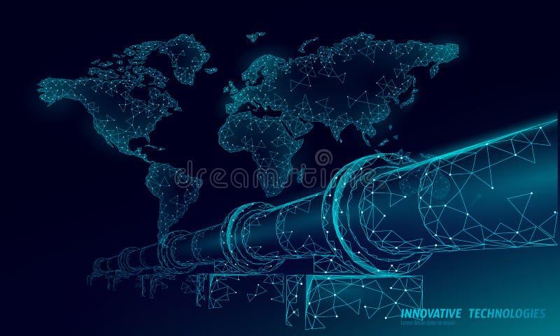 Concept d'affaires de carte du monde d'oléoduc Production polygonale d'essence d'économie de finances Industrie de carburant de p illustration stock