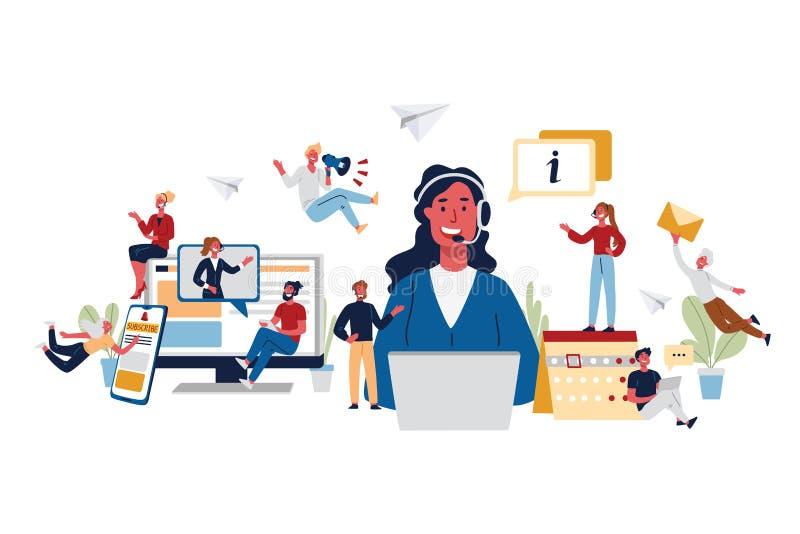 Concept d'affaires de centre d'appels, de la consultation, d'appui et de centre d'information illustration stock