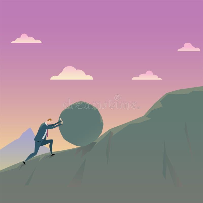 Concept d'affaires de conquérir l'homme d'affaires d'adversité poussant une roche ascendante illustration stock