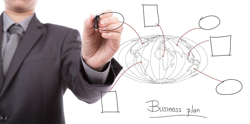 Concept d'affaires de dessin de main d'homme d'affaires photos stock