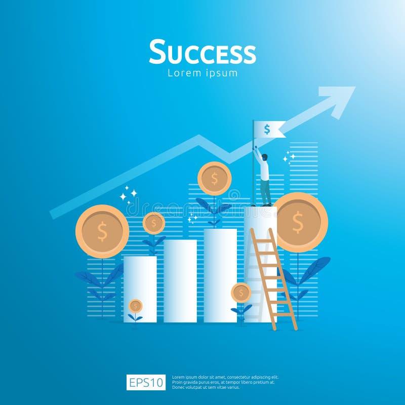 Concept d'affaires de drapeau de succès de but d'accomplissement avec l'escalier ROI de retour sur l'investissement Vision de cro illustration libre de droits