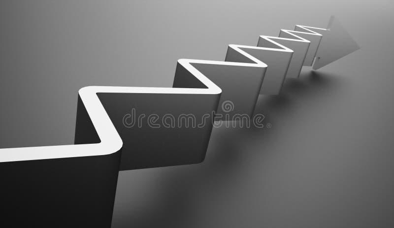 Concept d'affaires de flèche d'escalier rendu images stock