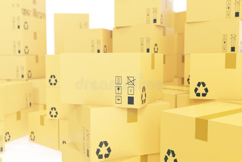 Concept d'affaires de la livraison, pile de boîte en carton ondulé, paquets d'isolement sur le blanc rendu 3d illustration de vecteur