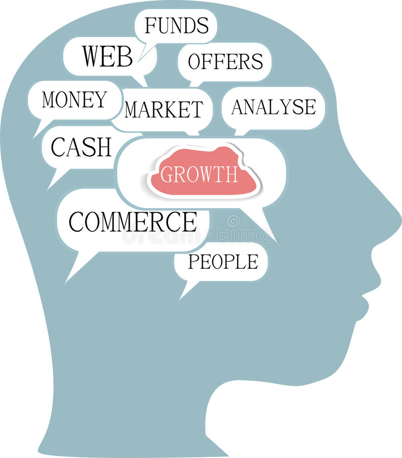 Concept d'affaires de nuage de mot à l'intérieur de la forme principale illustration stock