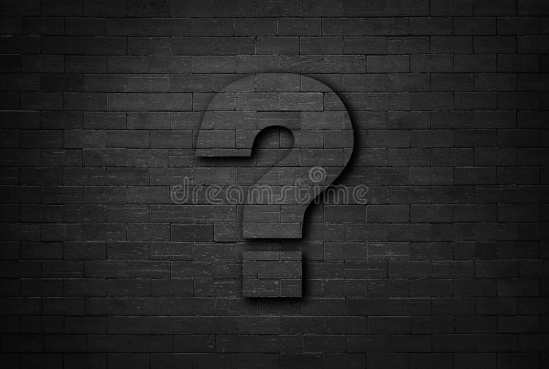 Concept d'affaires de point d'interrogation sur le fond noir de texture de mur de briques image stock