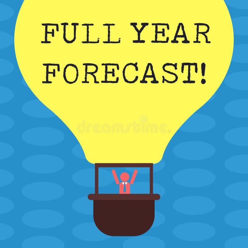 Concept d'affaires de prévision d'année des textes d'écriture de Word le plein pour l'évaluation du perforanalysisce financier ac illustration de vecteur