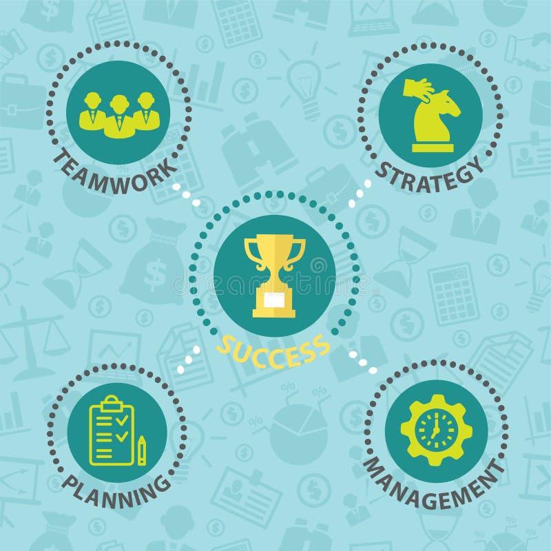 Concept d'affaires de succès avec des icônes illustration libre de droits