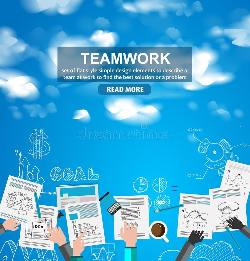 Download Concept D'affaires De Travail D'équipe Avec Le Fond De Croquis De Griffonnages Illustration de Vecteur - Illustration du vente, fond: 77153105
