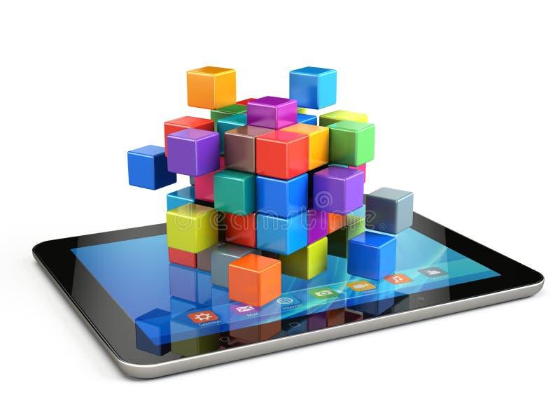 Concept d'affaires de travail d'équipe - cubez se réunir à partir des blocs illustration de vecteur
