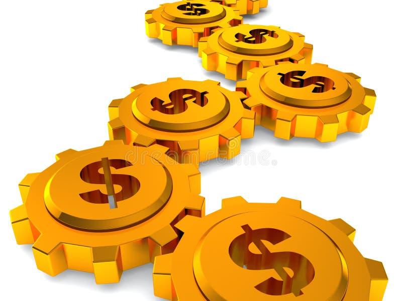 Concept d'affaires de travail d'argent. Trains avec le dollar illustration stock