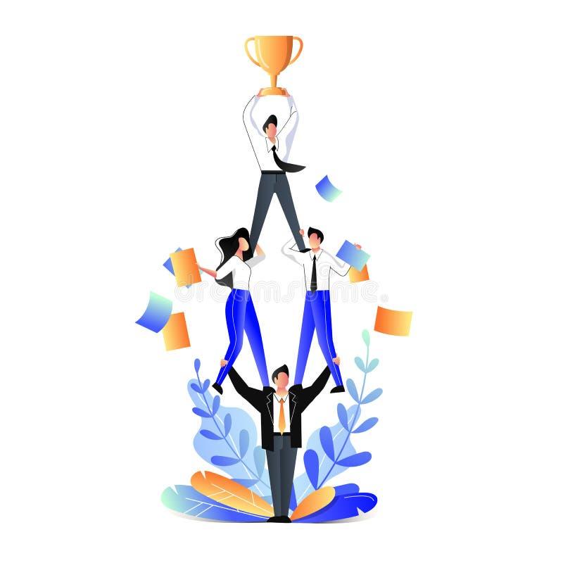 Concept d'affaires de travail d'?quipe Illustration plate de vecteur Position d'acrobates d'hommes d'affaires dans la pyramide et illustration de vecteur