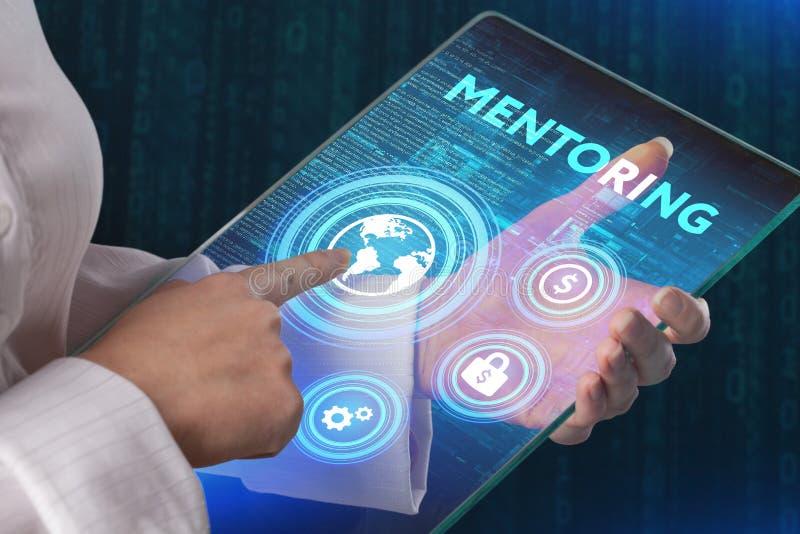 Concept d'affaires de tutelle Label virtuel d'exposition de mentor avec le texte images libres de droits
