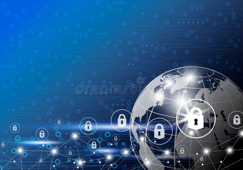 Concept d'affaires de vecteur de conception de sécurité de réseau global illustration libre de droits