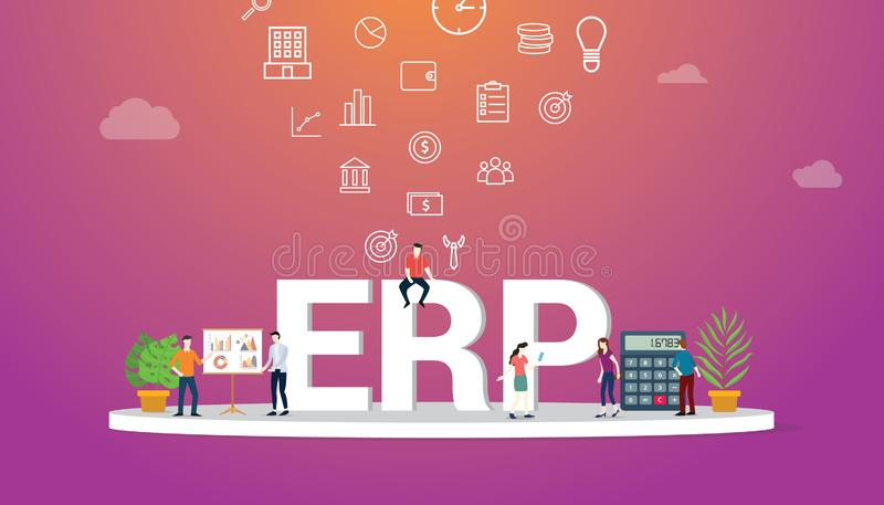Concept d'affaires d'ERP avec des personnes d'?quipe collaborant avec le grands texte et ic?ne - vecteur illustration libre de droits