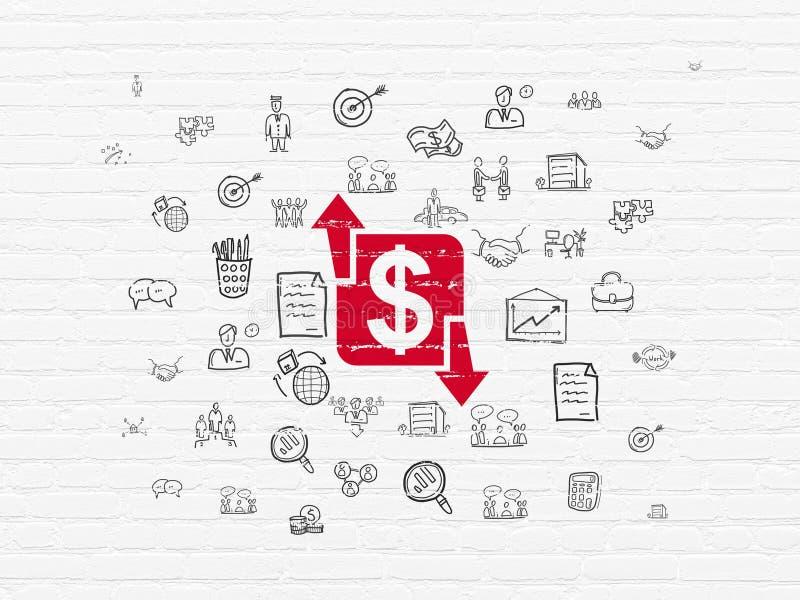Concept d'affaires : Finances sur le fond de mur photo stock