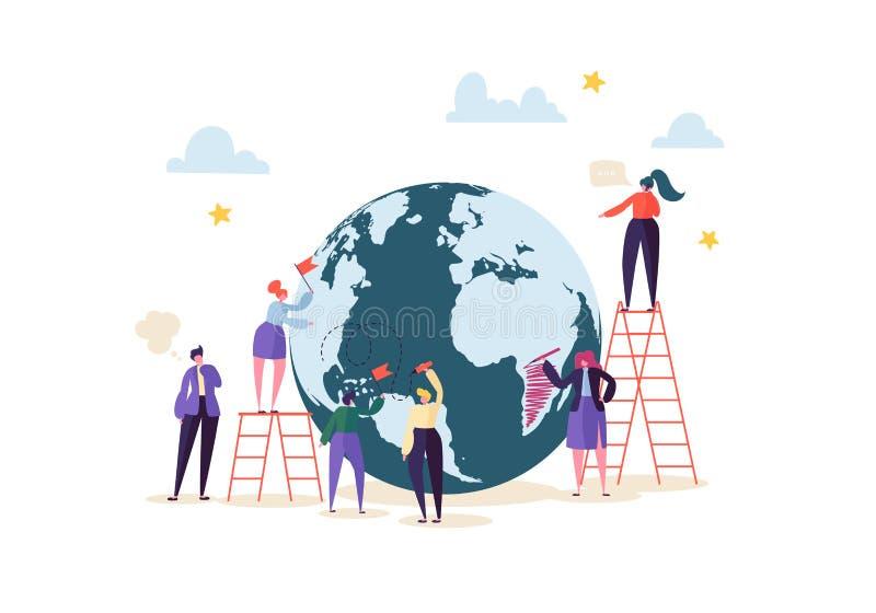 Concept d'affaires globales avec des caractères fonctionnant ensemble Les gens communiquant dans le procédé de travail Coopératio illustration de vecteur