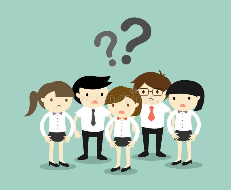 Concept d'affaires, groupe de gens d'affaires se sentant confus illustration libre de droits