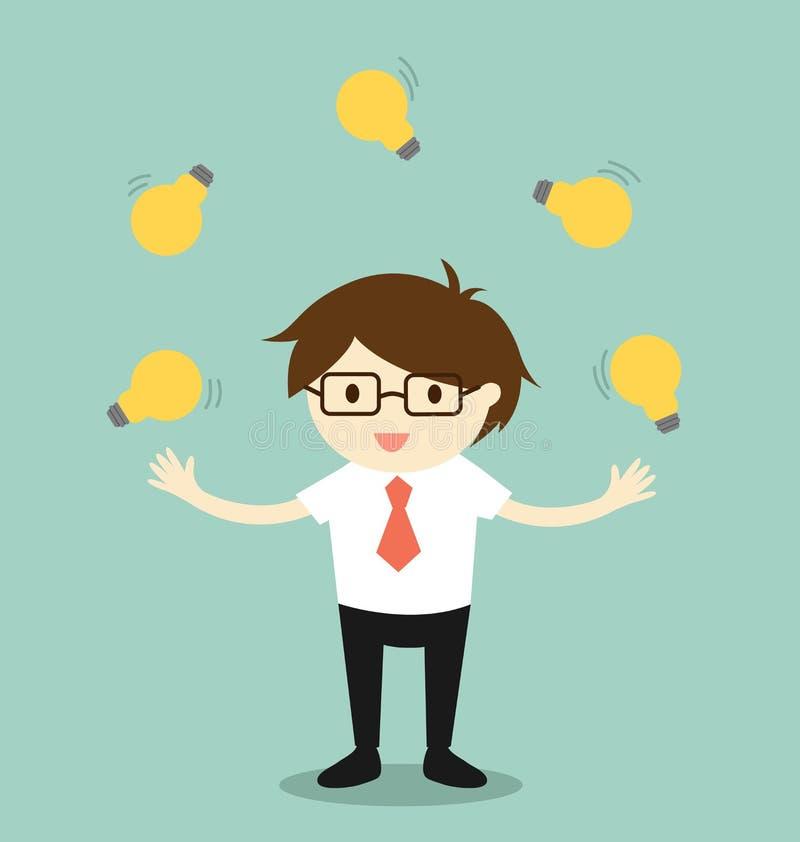 Concept d'affaires, homme d'affaires jonglant beaucoup d'ampoules illustration de vecteur