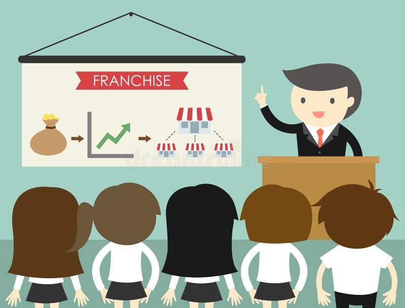 Concept d'affaires, homme d'affaires présentant l'exposé au sujet des affaires de concession illustration de vecteur
