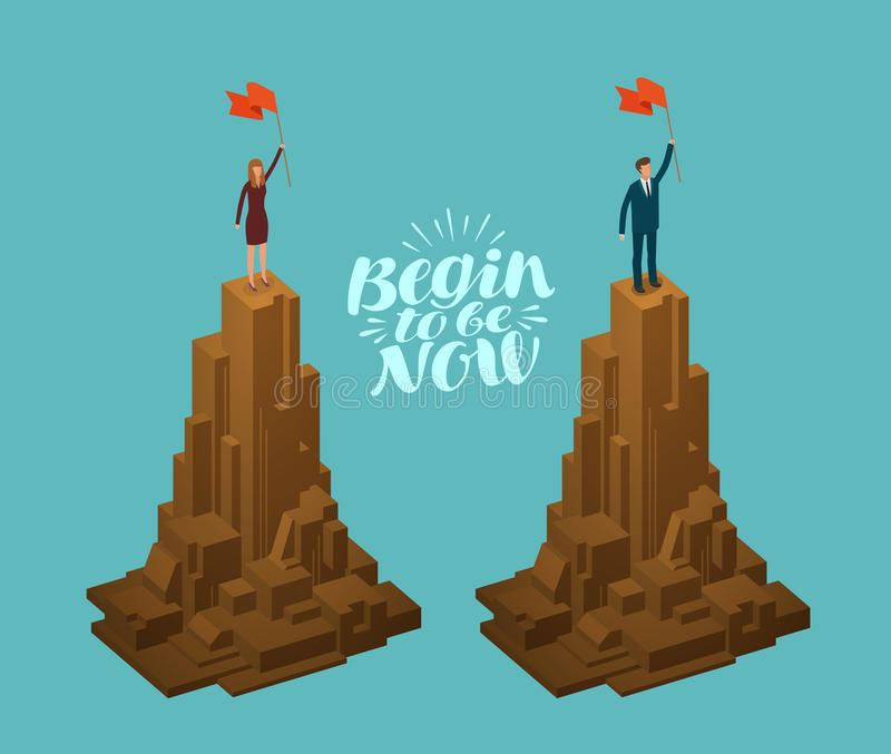 Concept d'affaires Homme d'affaires réussi, femme d'affaires avec le drapeau sur la montagne Illustration de vecteur d'Infographi illustration libre de droits