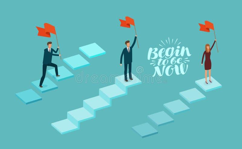 Concept d'affaires Homme d'affaires réussi sur le dessus avec le drapeau à disposition Illustration de vecteur d'Infographics illustration stock