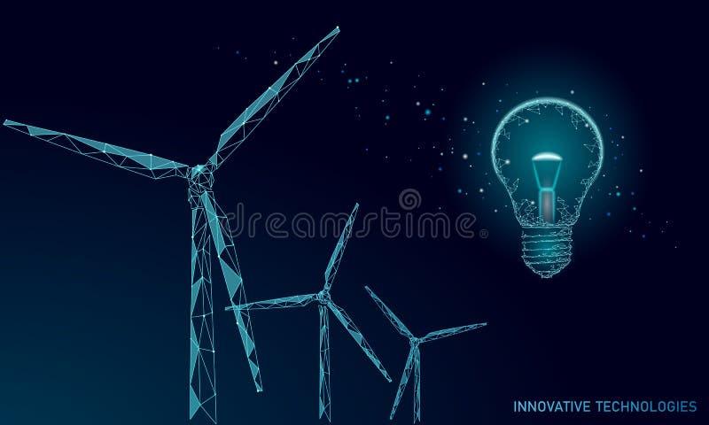 Concept d'affaires d'idée de moulins à vent d'ampoule Puissance viable d'énergie de vert de vent d'environnement d'économies d'éc illustration stock