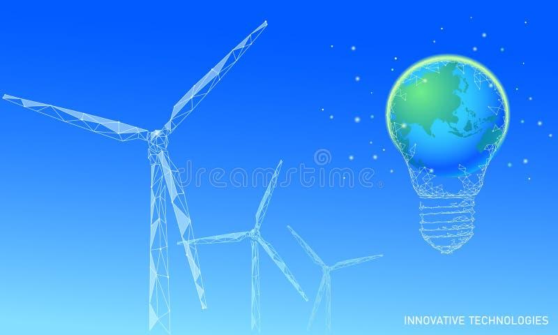 Concept d'affaires d'idée de moulins à vent d'ampoule Puissance viable d'énergie de vert de vent d'environnement d'économies d'éc illustration de vecteur