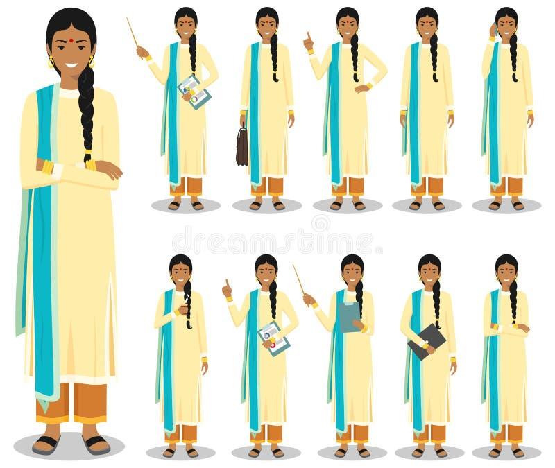 Concept d'affaires Illustration détaillée de femme d'affaires indienne se tenant dans différentes positions dans le style plat d' illustration de vecteur