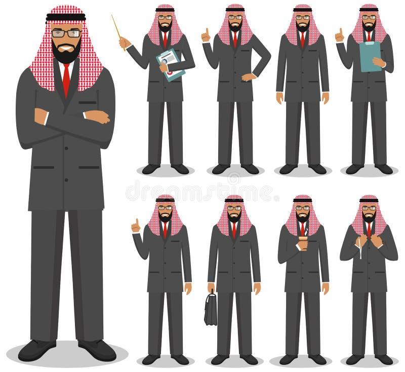 Concept d'affaires Illustration détaillée de l'homme d'affaires Arabe musulman se tenant dans différentes positions dans le style illustration libre de droits