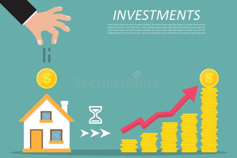 Concept d'affaires Investissant, immobiliers, investissement intéressant Illustration de vecteur illustration de vecteur