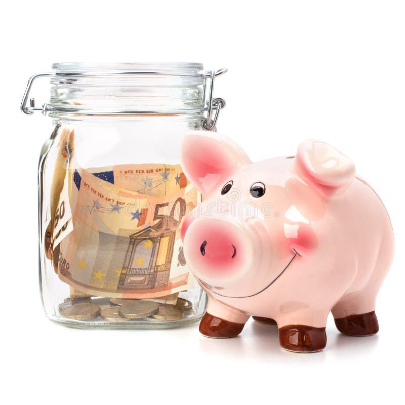 . Concept d'affaires. L'épargne d'argent dans le bac en verre. photos stock