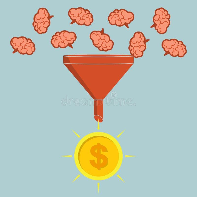 Concept d'affaires Les ventes dirigent convertir des cerveaux en argent Vec illustration stock
