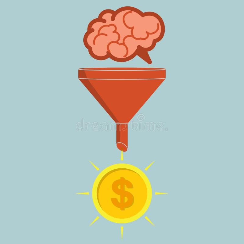 Concept d'affaires Les ventes dirigent convertir des cerveaux en argent Vec illustration libre de droits
