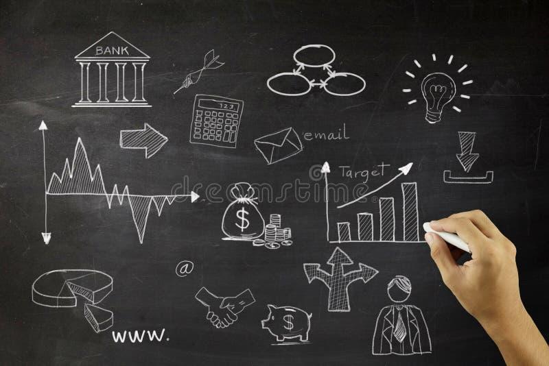 Concept d'affaires : Marquez l'icône à la craie blanche d'ampoule sur le fond de conseil pédagogique illustration libre de droits