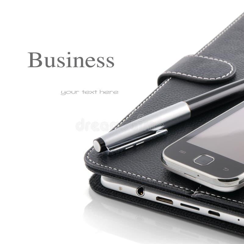 Concept d'affaires. Téléphone portable, PC de tablette et crayon lecteur photo stock