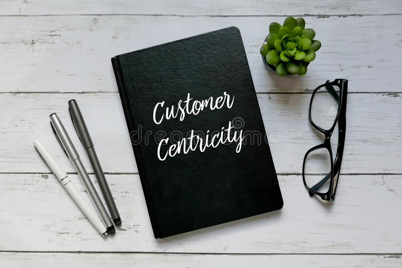 Concept d'affaires Vue supérieure des verres, de l'usine, du stylo et du carnet écrits avec le client Centricity photo libre de droits