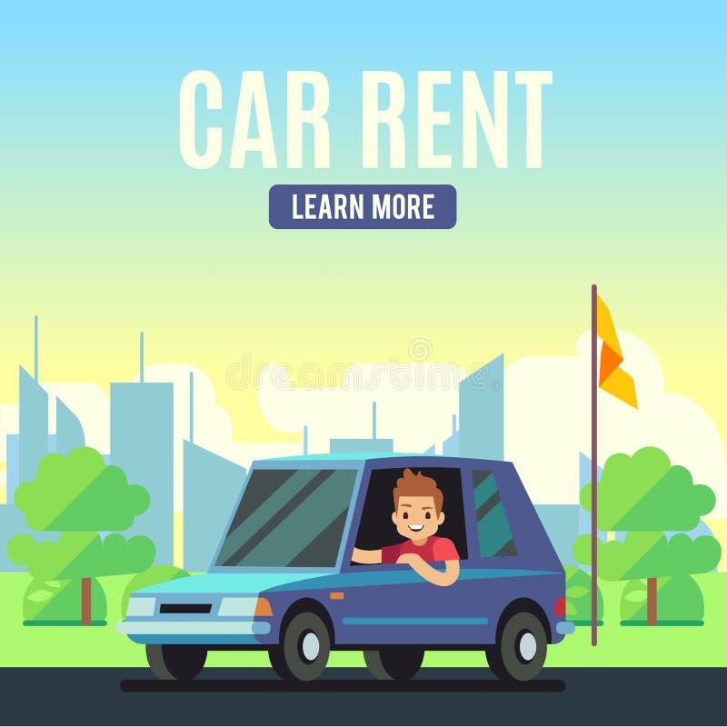 Concept d'affiche de location de voiture jeune homme de style de la bande de vecteur sur la voiture bleue sur le fond pastoral illustration de vecteur