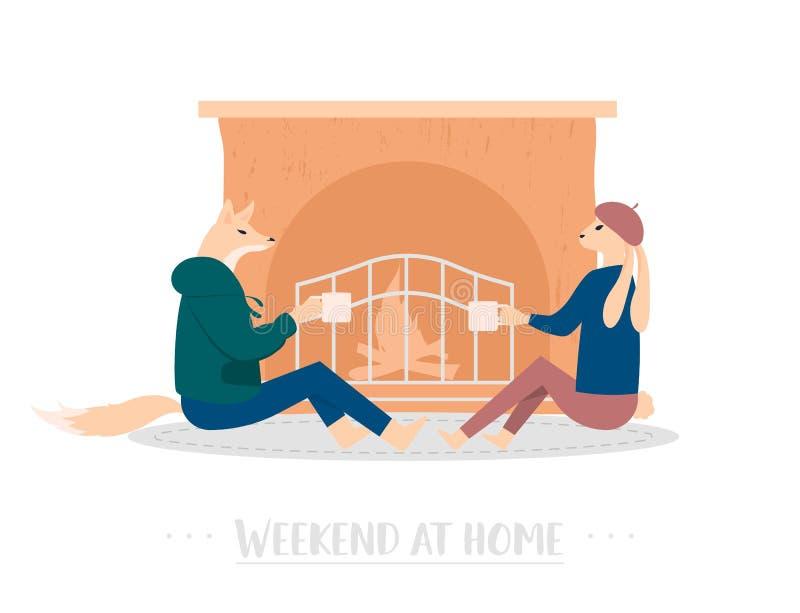 Concept d'affiche de vecteur de week-end à la maison illustration libre de droits