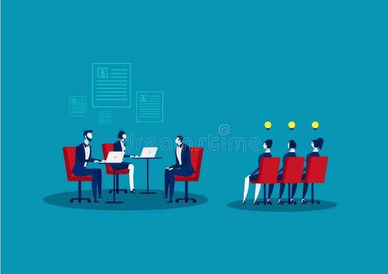 Concept d'agence des RH Ressources humaines Candidats à la recherche et à la sélection Entrevue d'emploi et recrutement lustratio illustration stock