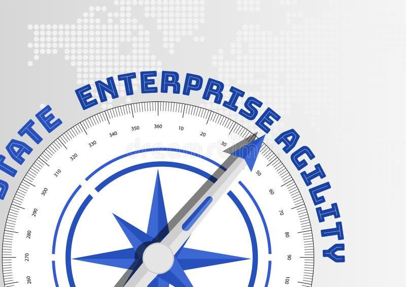 Concept d'agilité d'entreprise avec la boussole se dirigeant vers le texte illustration de vecteur